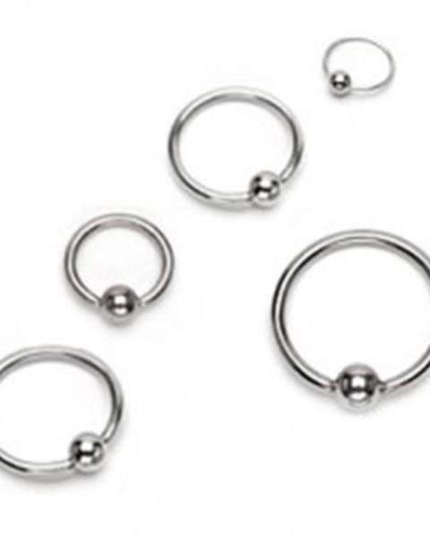 Piercing z chirurgickej ocele - lesklý krúžok s guličkou, strieborná farba - Hrúbka x priemer x veľkosť guličky: 1,2 x 10 x 3 mm