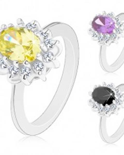 Prsteň striebornej farby, žiarivý kvietok s farebným oválnym stredom - Veľkosť: 50 mm, Farba: Žltá
