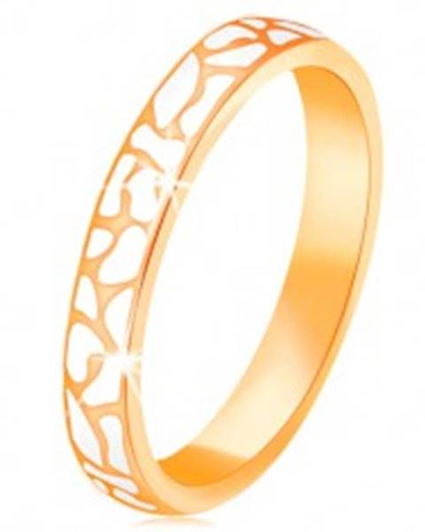 Prsteň zo žltého 14K zlata - nepravidelné škvrny z bielej glazúry - Veľkosť: 52 mm