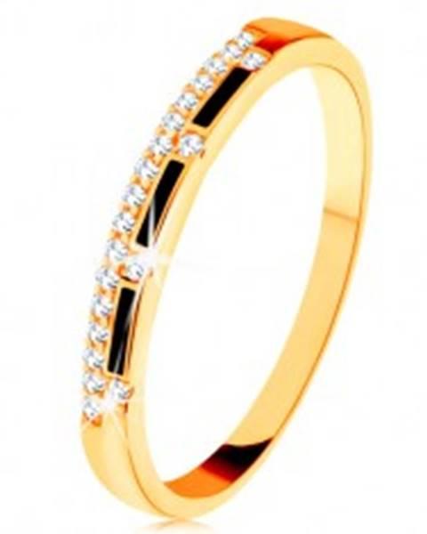 Prsteň zo žltého 14K zlata - pásy čiernej glazúry, číra zirkónová línia - Veľkosť: 50 mm