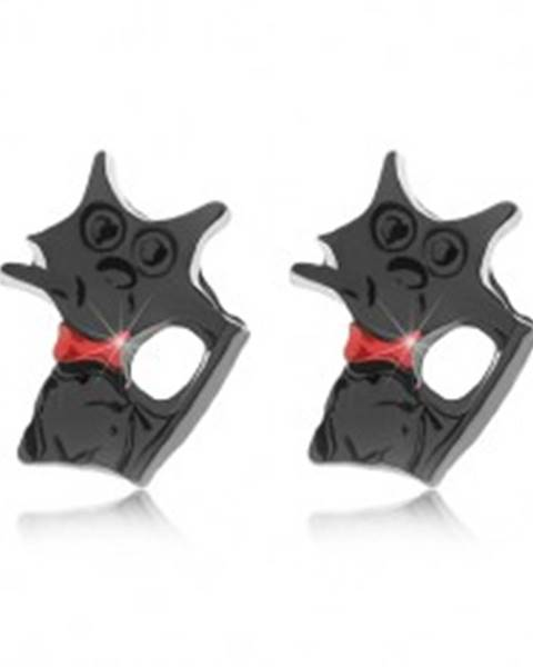 Puzetové náušnice, lesklá čierna mačka s červeným obojkom
