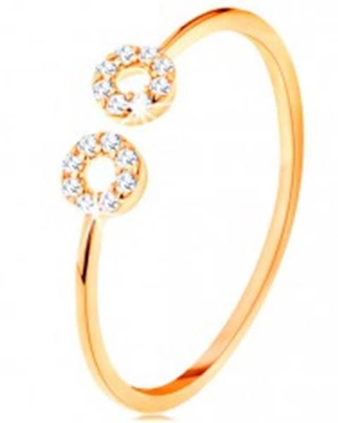 Zlatý prsteň 585 s úzkymi oddelenými ramenami, malé zirkónové obruče - Veľkosť: 51 mm