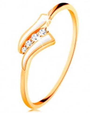 Zlatý prsteň 585 - dve biele vlnky, línia čírych zirkónov, lesklé ramená GG133.05/31/34 - Veľkosť: 49 mm