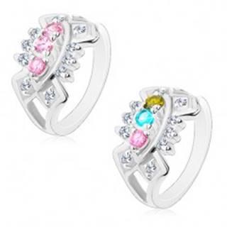 Ligotavý prsteň s rozdelenými ramenami, výrezy so vsadenými zirkónmi R45.11 - Veľkosť: 49 mm, Farba: Ružová