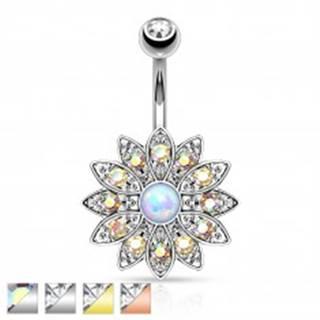 Piercing do bruška z chirurgickej ocele, kvet so zirkónmi a syntetickým opálom - Farba piercing: Medená - číra