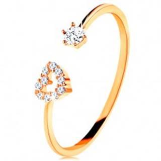 Prsteň v žltom zlate 585 - lesklé ramená ukončené obrysom srdca a čírym zirkónom GG134.10/33/36 - Veľkosť: 49 mm