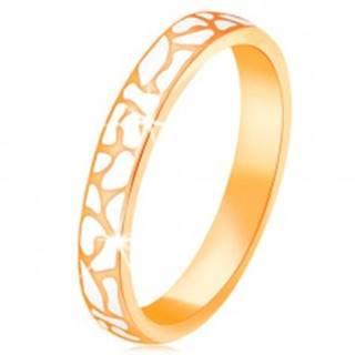 Prsteň zo žltého 14K zlata - nepravidelné škvrny z bielej glazúry GG132.01/132.11 - Veľkosť: 52 mm