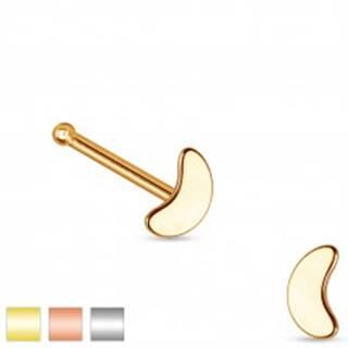 Rovný piercing do nosa z ocele 316L, malý lesklý kosák mesiaca - Farba piercing: Medená
