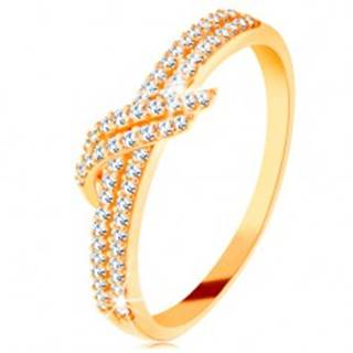 Zlatý prsteň 585 - trblietavé línie čírych zirkónikov, dvojitá vlnka - Veľkosť: 49 mm