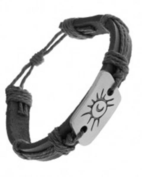 Čierny náramok zo syntetickej kože a šnúrok, oceľová známka, slnko a mesiac