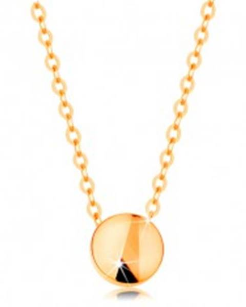Náhrdelník zo žltého zlata 585 - lesklý kruh, retiazka z oválnych očiek