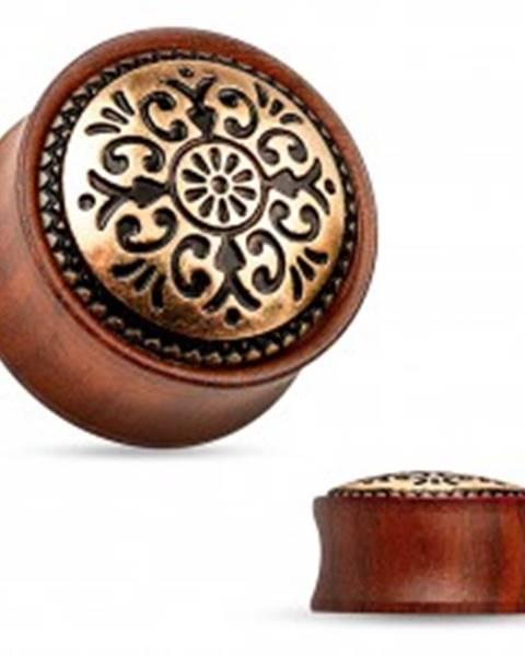 Sedlový plug do ucha z dreva mahagónovej farby, vyrezávaný kruh PC26.18/25 - Hrúbka: 10 mm