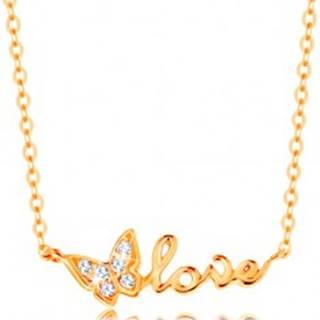 Ligotavý zlatý náhrdelník 585 - retiazka z oválnych očiek, motýlik a nápis love