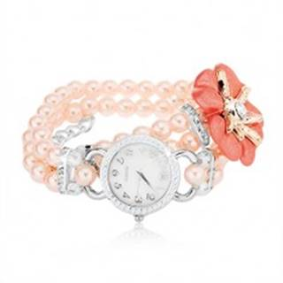 Náramkové hodinky, ciferník so zirkónmi, korálkový ružový náramok, kvet