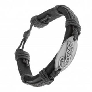 Náramok z čiernej syntetickej kože a šnúrok, lesklý ovál s jaštericou Z21.18