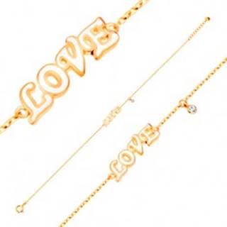 Náramok zo žltého 14K zlata, prívesky - biely glazúrovaný nápis LOVE a zirkón
