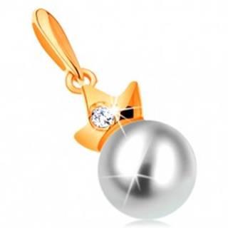 Prívesok zo žltého 14K zlata - guľatá biela perla s trojcípou korunkou
