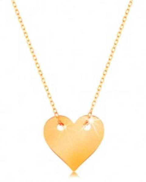 Náhrdelník v žltom 14K zlate - malé súmerné ploché srdce, jemná retiazka