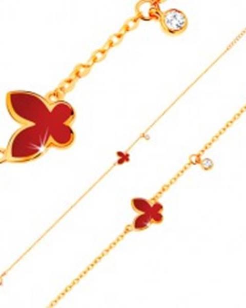 Náramok v žltom 14K zlate - glazúrovaný červený motýľ a okrúhly zirkónik čírej farby