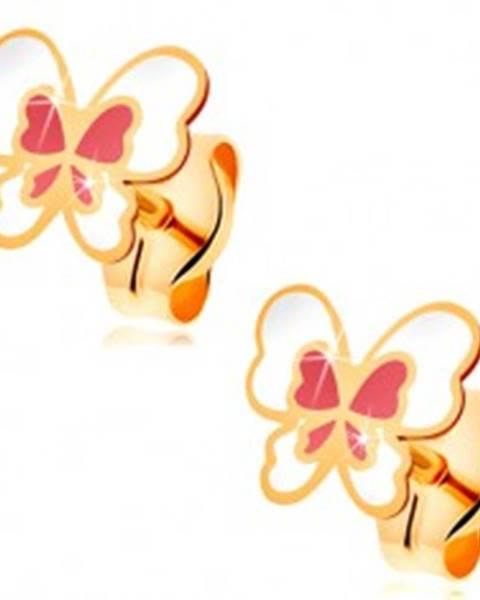 Náušnice zo žltého 14K zlata, motýľ zdobený bielou a svetloružovou glazúrou