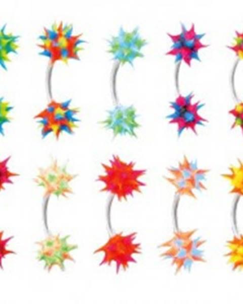 Piercing do obočia so silikónovým farebným ježkom - Farba piercing: Čierna - Modrá - Ružová