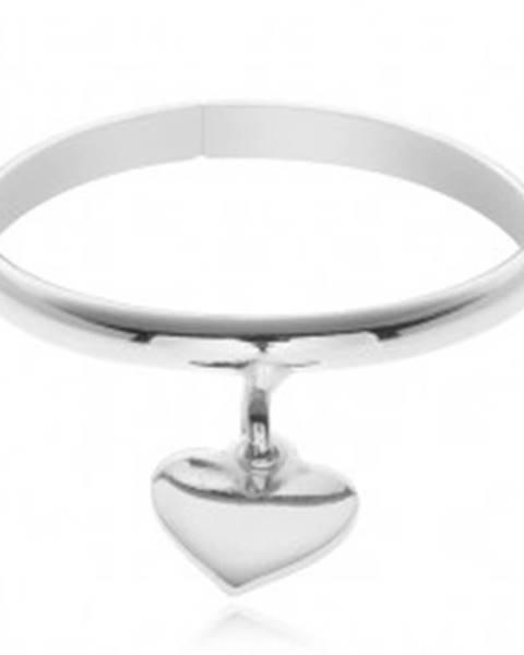 Prsteň zo striebra 925 - prívesok v tvare srdiečka, nastaviteľný