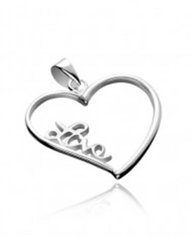 Strieborný prívesok 925 - veľké obrysové srdce s nápisom Love X45.5