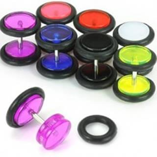 Akrylový fake plug do ucha, farebné kolieska - Farba piercing: Biela