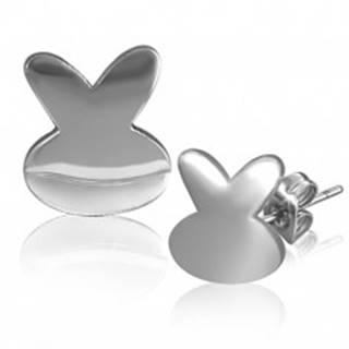 Oceľové náušnice - lesklý symbol zajka