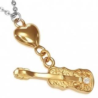 Oceľový náhrdelník - retiazka, srdce zlatej farby a gitara so zirkónom