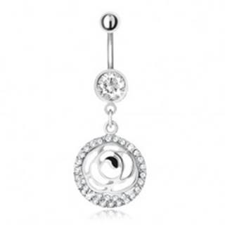Oceľový piercing do pupka, zirkónový kruh a vyrezávaný kvet