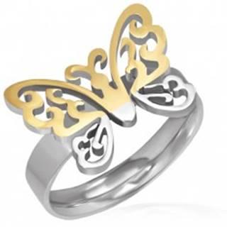 Oceľový prsteň - vyrezávaný motýľ zlato-striebornej farby - Veľkosť: 52 mm