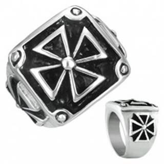 Pečatný prsteň z ocele - maltézsky kríž v ráme s patinou - Veľkosť: 54 mm