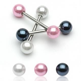 Piercing do jazyka s perleťovou guličkou C15.18 - Farba zirkónu: Biela - W