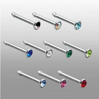 Piercing do nosa s rovným koncom so zirkónom - Farba zirkónu: Aqua modrá - Q