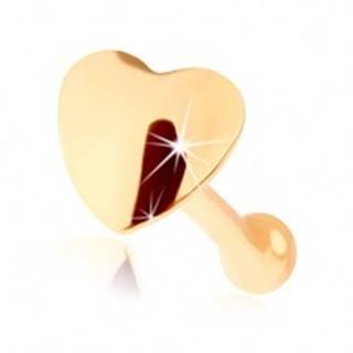 Piercing do nosa v žltom 14K zlate - malé lesklé srdiečko, rovný