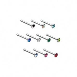 Rovný piercing do nosa z ocele 316L, farebný zirkón v hlavičke - Farba zirkónu: Číra - C