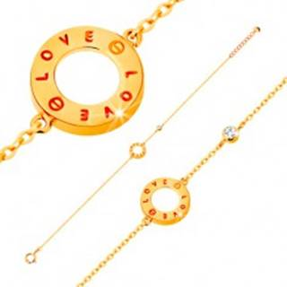 Zlatý náramok 585 - obrys kruhu s nápismi LOVE, zirkón čírej farby