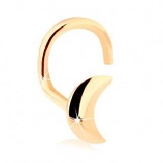 Zlatý zahnutý piercing do nosa 585, lesklý kosáčik mesiaca