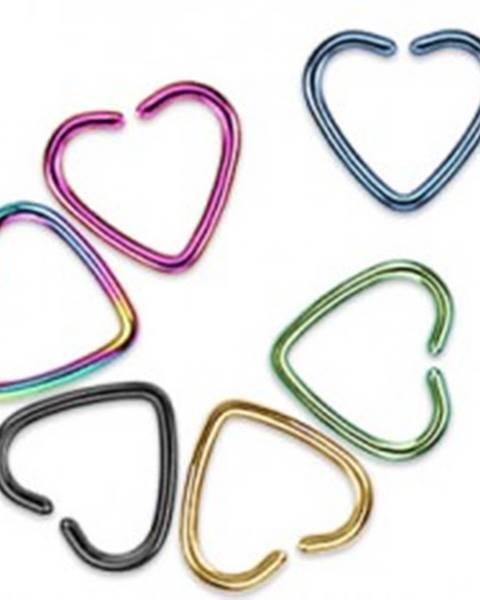Falošný piercing do ucha z titánu - farebné srdce - Farba piercing: Čierna