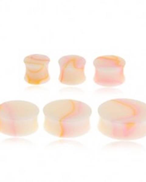 Lesklý krémový plug do ucha, žlto-ružový mramorový vzor - Hrúbka: 11 mm