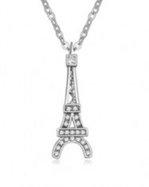 Lesklý náhrdelník s príveskom Eiffelovej veže, číre kamienky S72.11