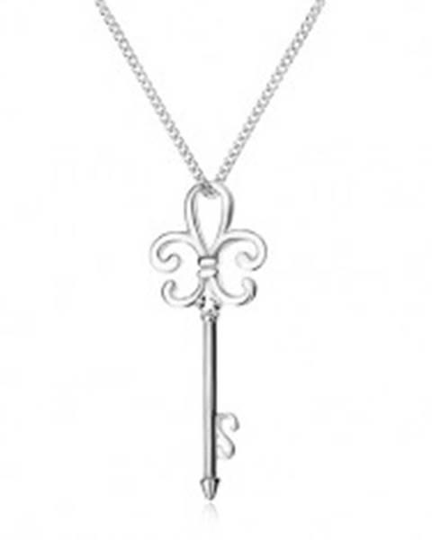 Náhrdelník zo striebra 925, retiazka a kľúčik, Fleur de Lis