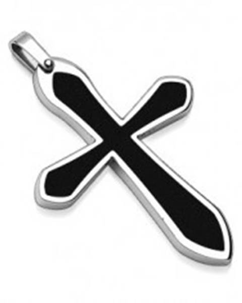 Prívesok z ocele v tvare kríža s čiernou výplňou G3.13