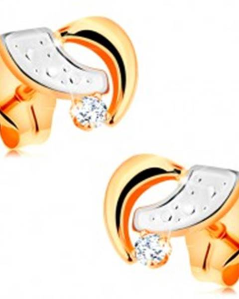 Puzetové náušnice zo 14K zlata - dvojfarebné oblúčiky a okrúhly číry zirkón