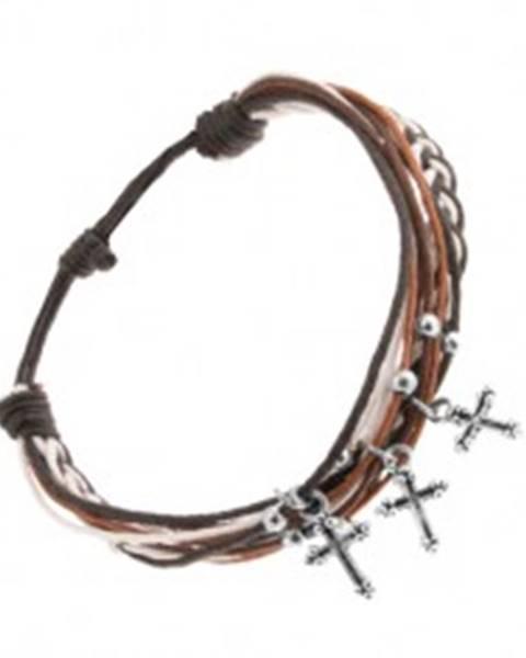 Šnúrkový náramok čiernej, bielej a hnedej farby, oceľové guličky a krížiky