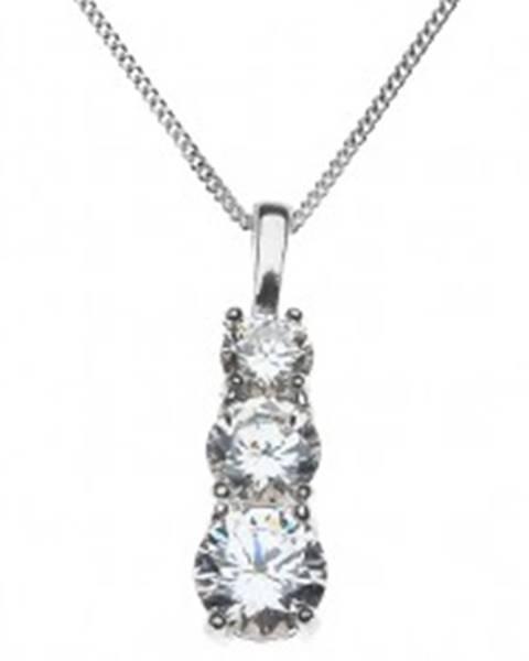 Strieborný náhrdelník 925 - tri zirkóny v zloženej objímke