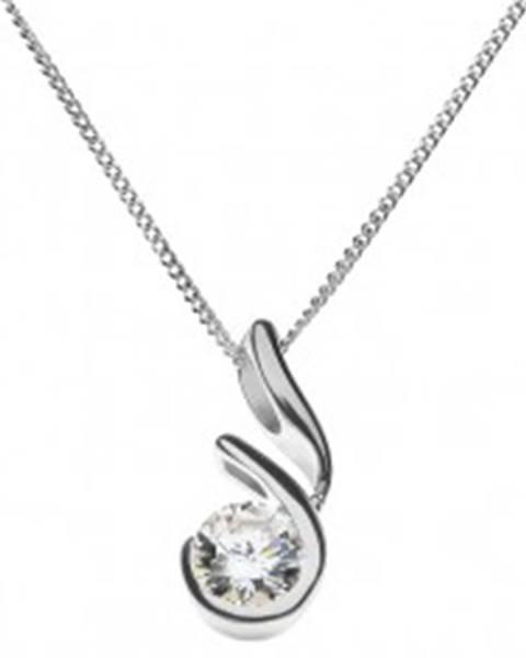 Strieborný náhrdelník 925 - zirkón v otvorenom rámčeku s výbežkom