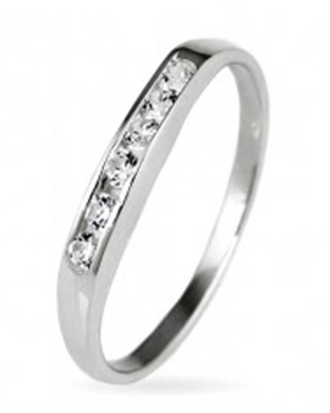 Strieborný prsteň 925 - trblietavá zirkónová línia - Veľkosť: 50 mm