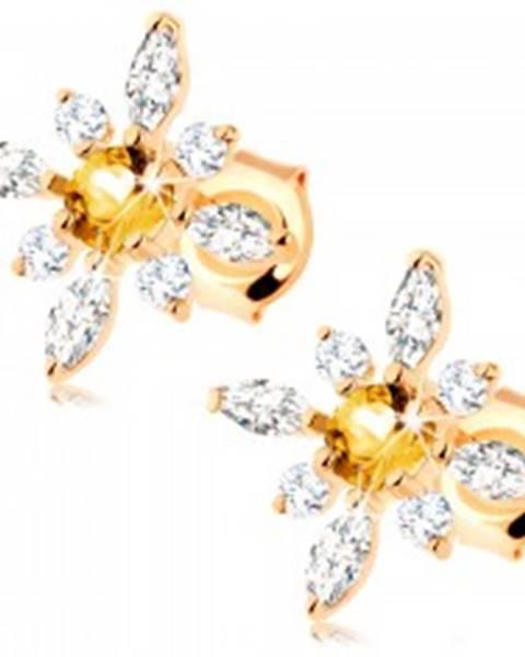facbad6ee Zlaté náušnice 375 - kvet zo žltého citrínu a čírych zirkónov GG63 ...